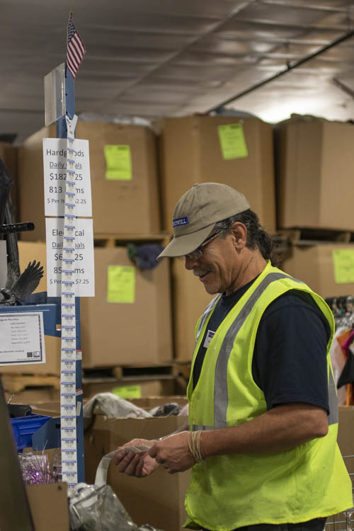 William Allen takes inventory at a Goodwill warehouse in Great Falls, Montana. Allen began working there three days after he was released from prison. PHOTO BY GABBY FRIEDLANDER | STAFF PHOTOGRAPHER